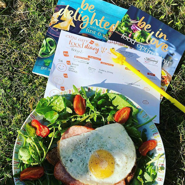 Slimming World food diary, books and healthy meal